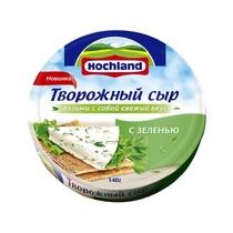 Сыр творожный Хохланд 140г круг 8/8 ф-15 с зеленью