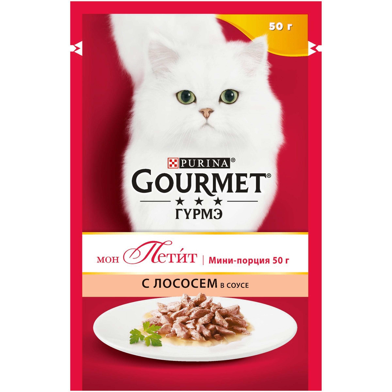 Корм влажный для кошек лосось Gourmet Mon Petit 50 гр. Дой-пак