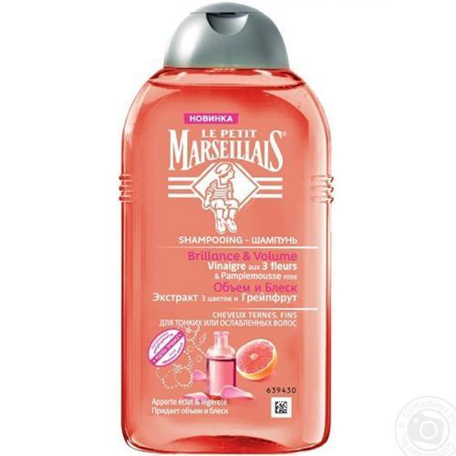 Шампунь Le Petit Marseillais для тонких волос Объём и Блеск Экстракт трех цветов и Грейпфрут