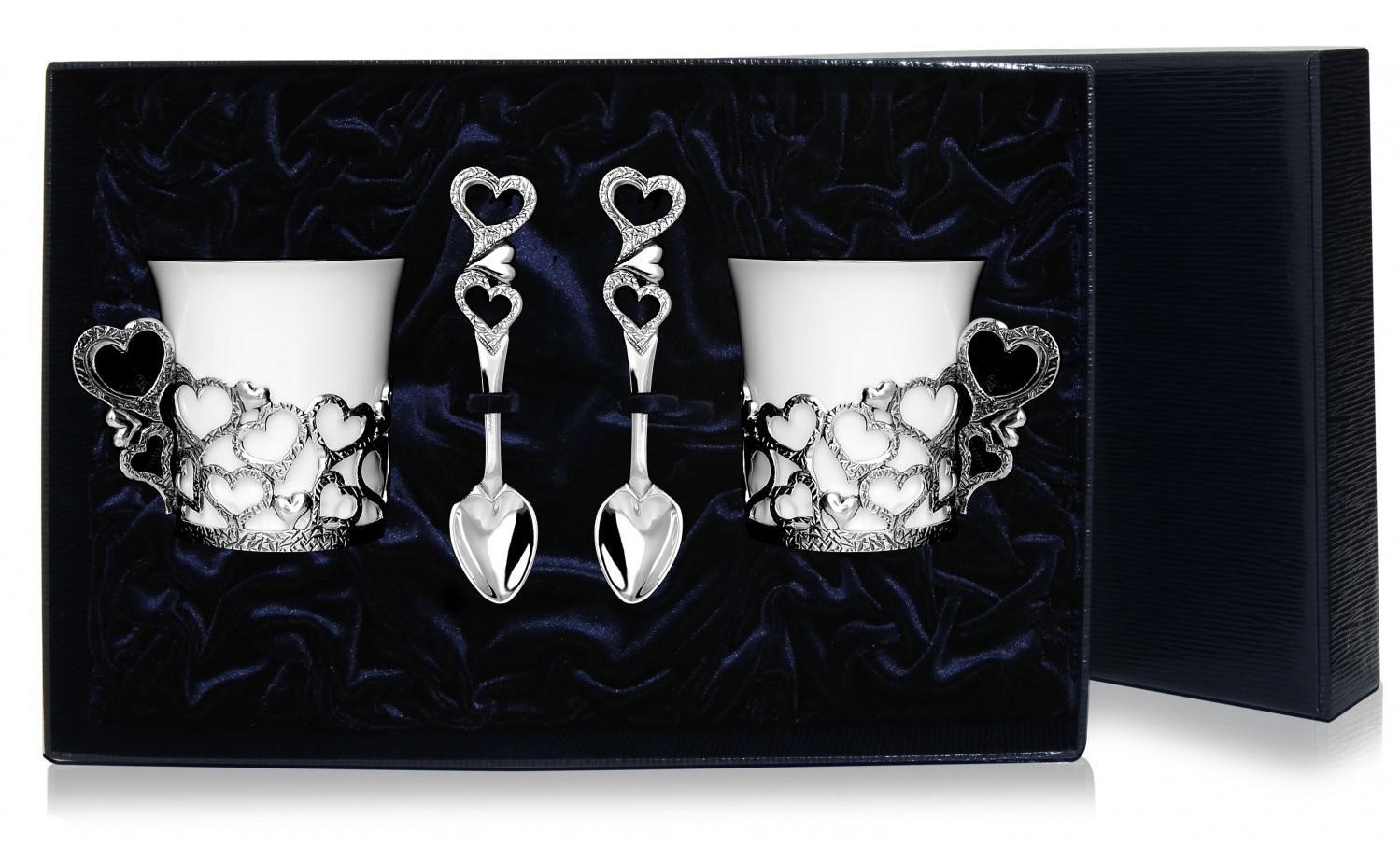 Набор 2 чашки сердце + ложка