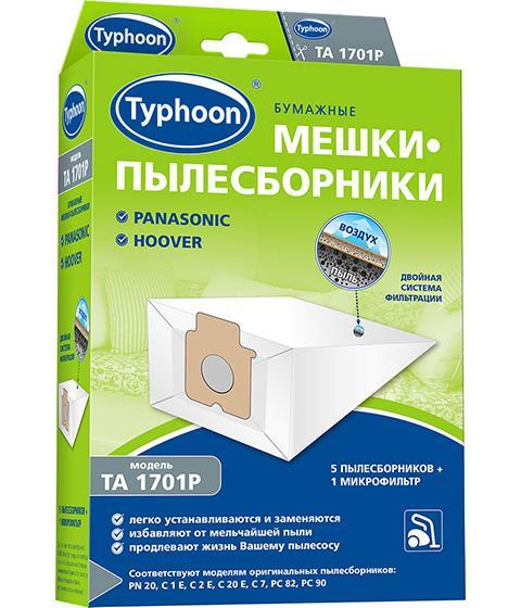 Бумажные мешки-пылесборники Тайфун для пылесосов, 5 шт + 1 микрофильтр: Panasonic, Hoover