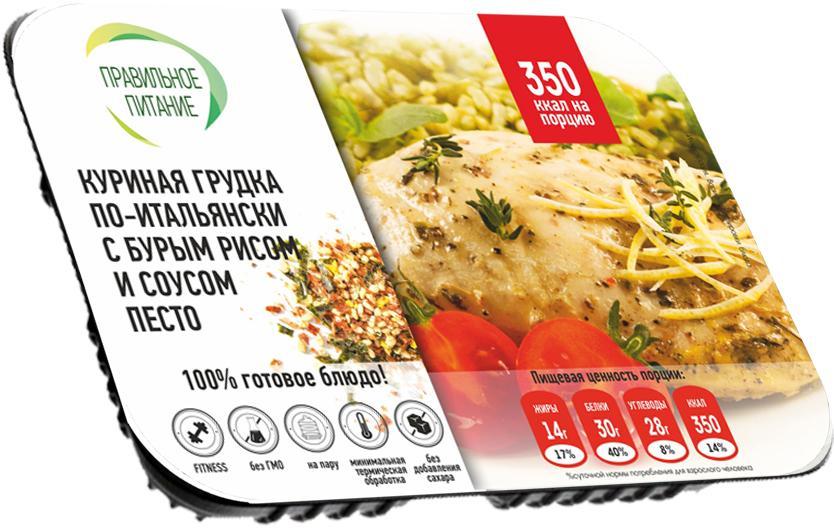 Готовое блюдо Правильное питание Куриная грудка по-итальянски с бурым рисом и соусом песто
