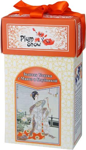 Чай Plum Snow Золотая Улитка с Манго Клубникой черный