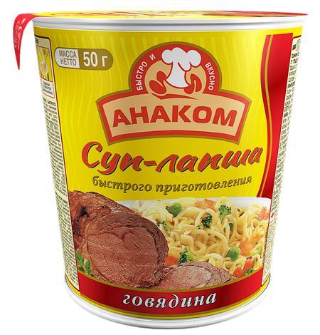 Суп-лапша Анаком На говяжьем бульоне быстрого приготовления