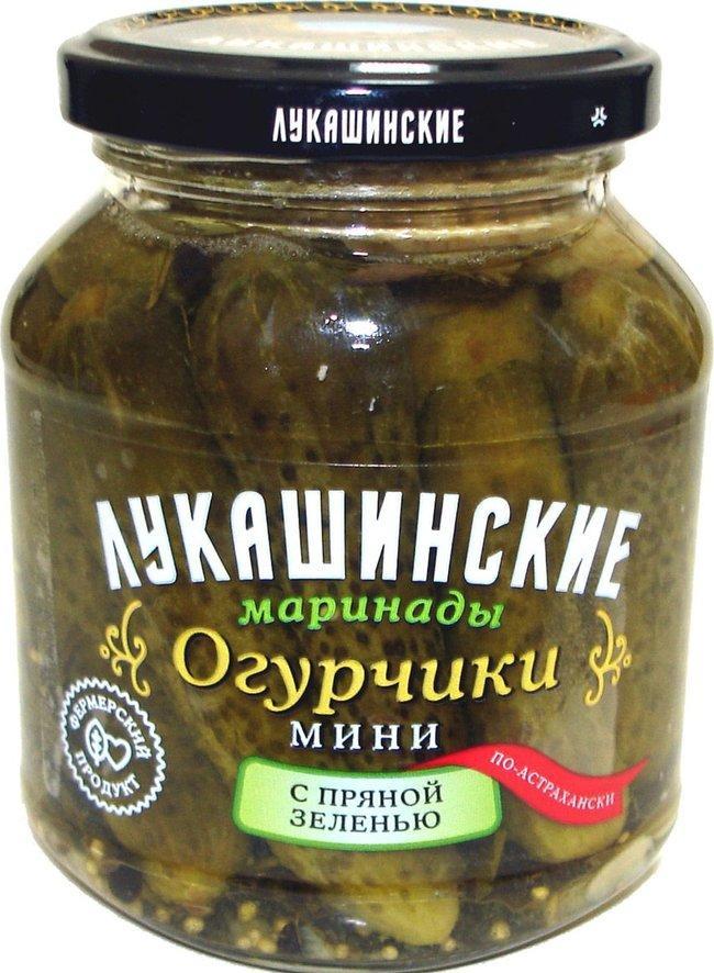 Огурцы мини Лукашинские Маринованные с пряной зеленью По-астрахански