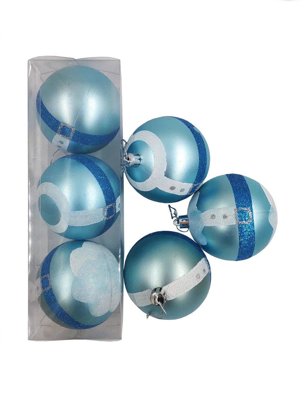 Елочные украшения Голубые полоски диаметр шара 8 см, 3 шт