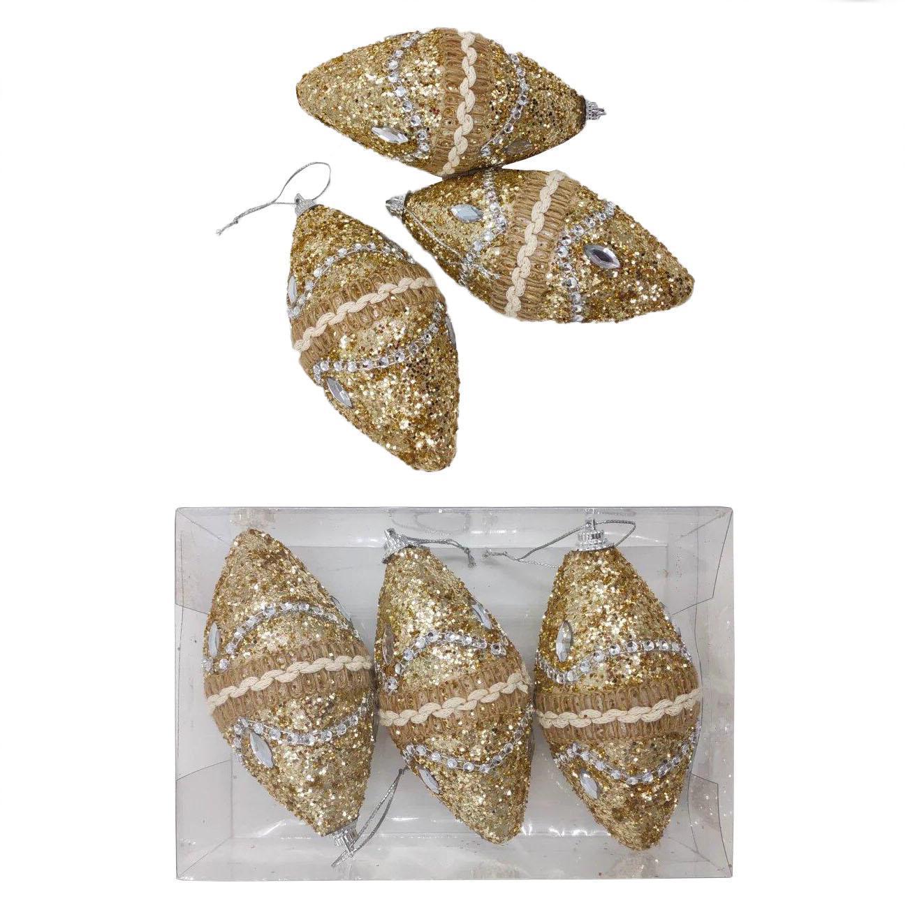 Елочные украшения Золотые узоры 3 шт