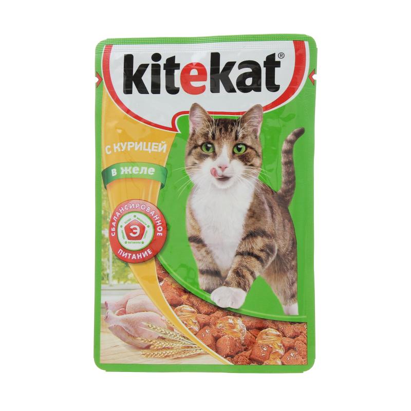 Корм влажный для взрослых кошек, с курицей в желе Kitekat 85 гр. Дой-пак