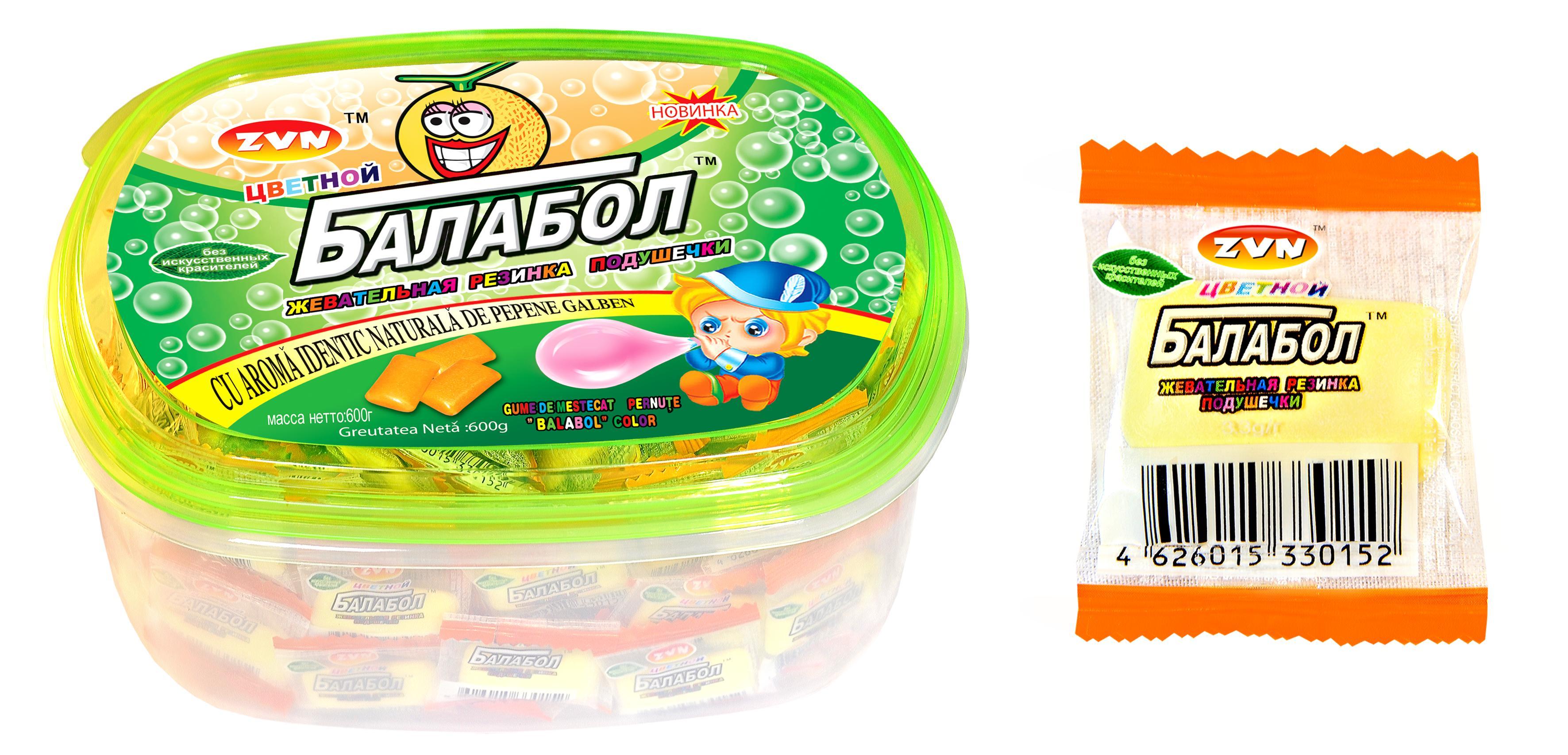 Жевательная резинка ZVN Цветной Балабол со вкусом Лимона и мяты