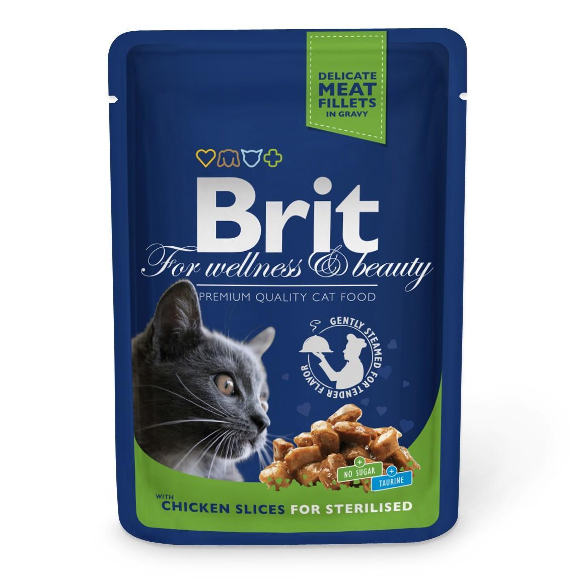 Корм Brit для стерилизованных кошек с кусочками курицы