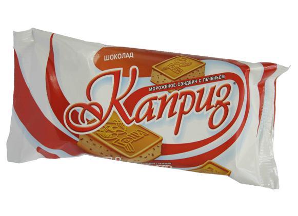 Мороженое Каприз Шоколад с кусочками шоколадной глазури на печенье