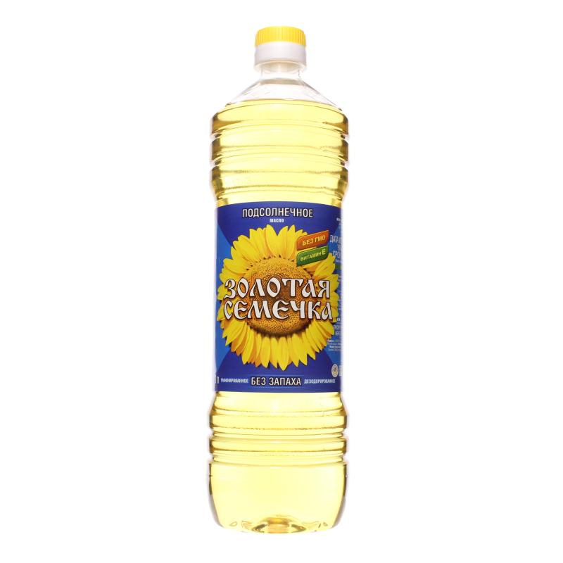 Подсолнечное масло Золотая семечка рафинированное дезодорированное, п/б 1 л.