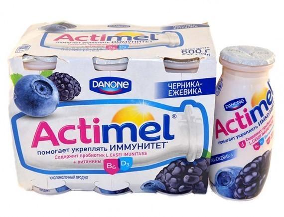 Кисломолочный напиток Actimel 2,5% Черника ежевика 6шт.