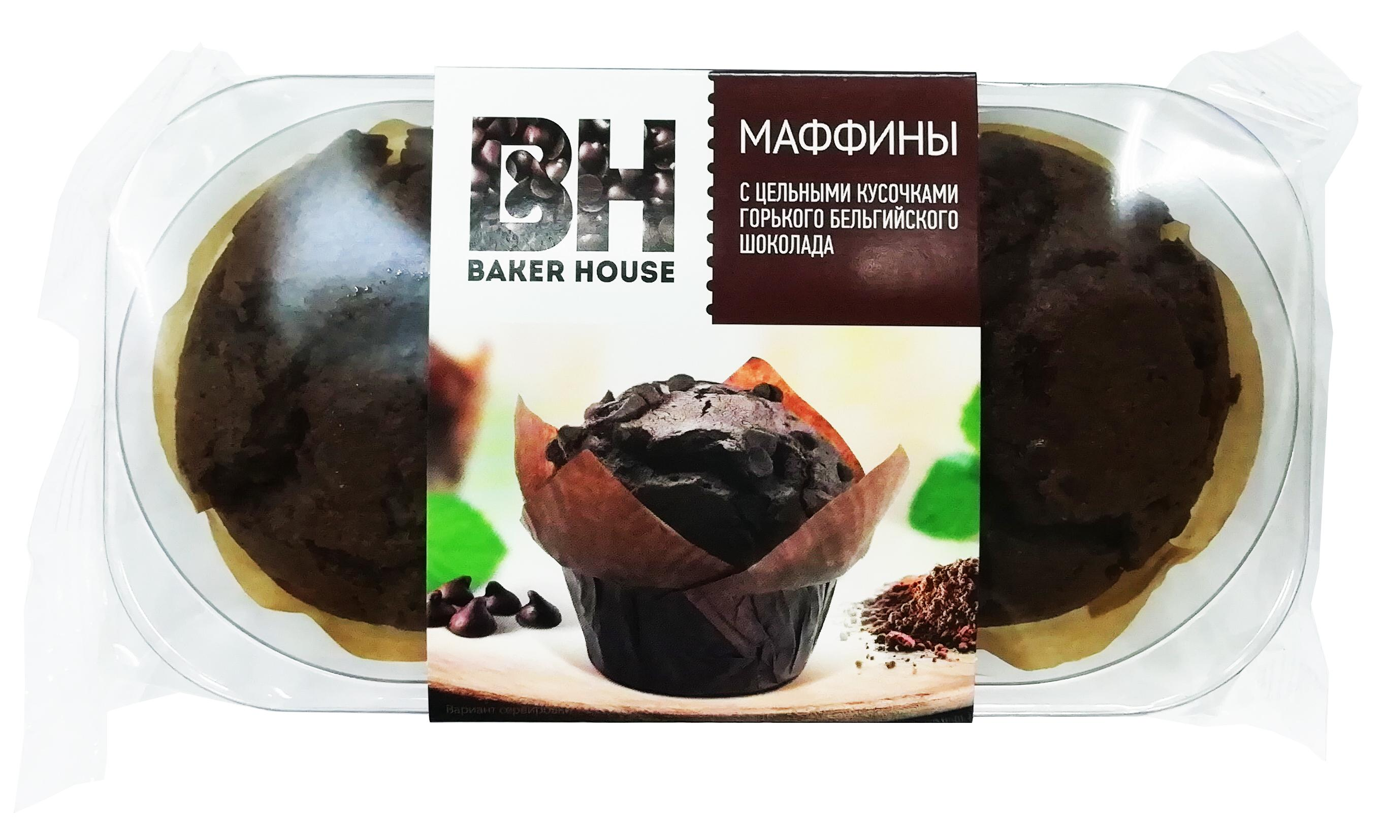 Маффин Baker Hause С цельными кусочками горького шоколада