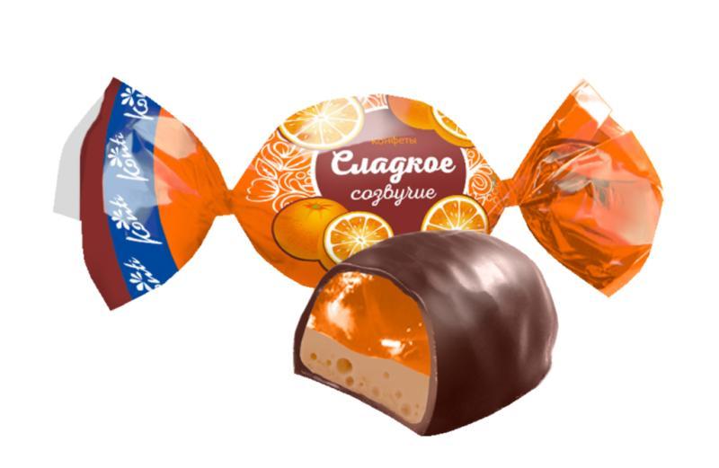 Конфеты Konti Сладкое созвучие вкус апельсин с шоколадом