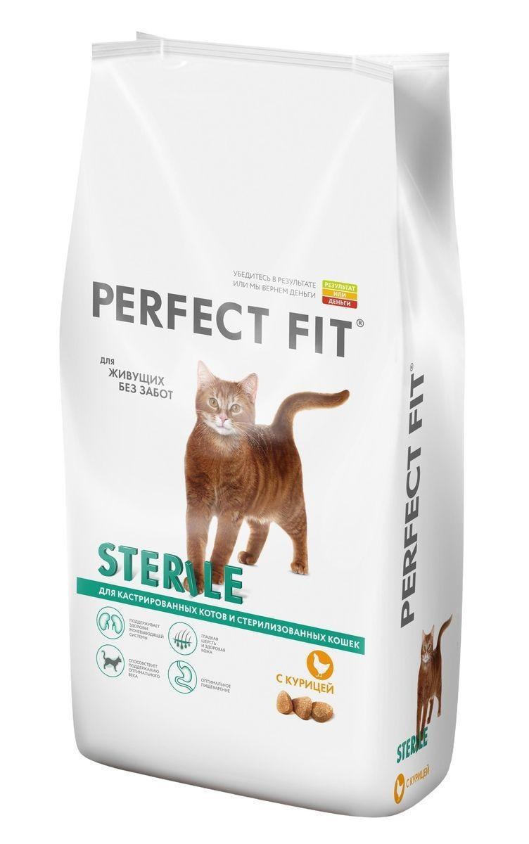 Корм Perfect Fit сухой для кошек Sterile с курицей 3кг