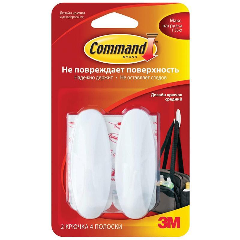 Крючок самоклеящийся Command Легкоудаляемый Средний Белый до 1,35кг. 2шт.