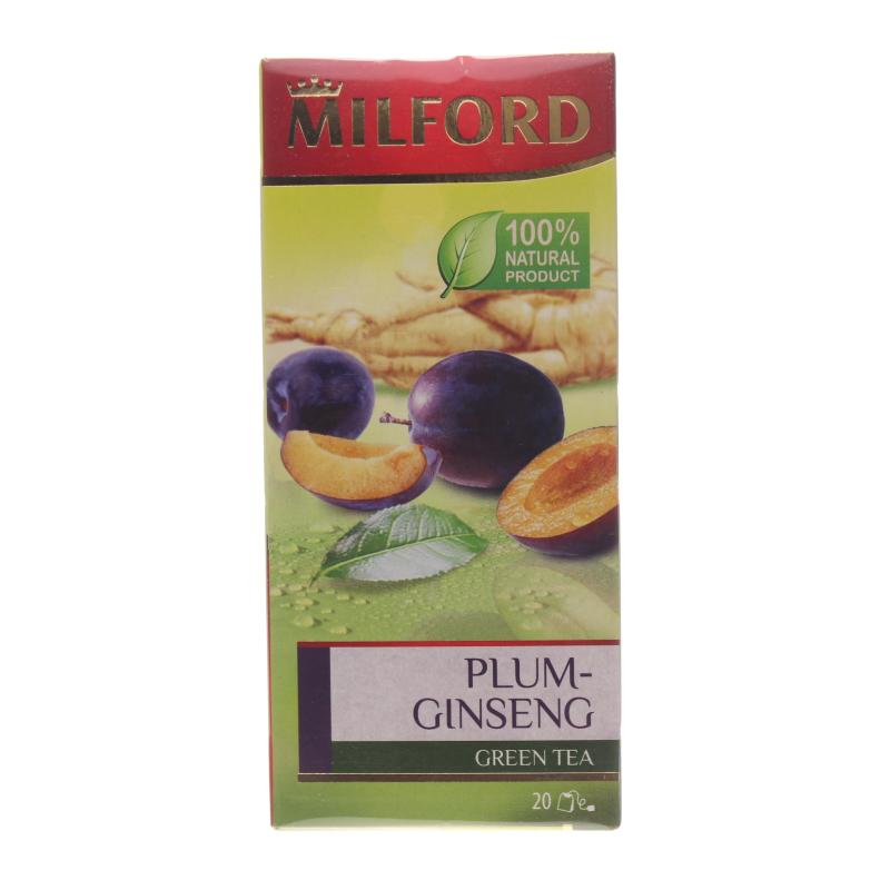 Чай Milford Plum-ginseng ароматизированный зеленый в пакетиках