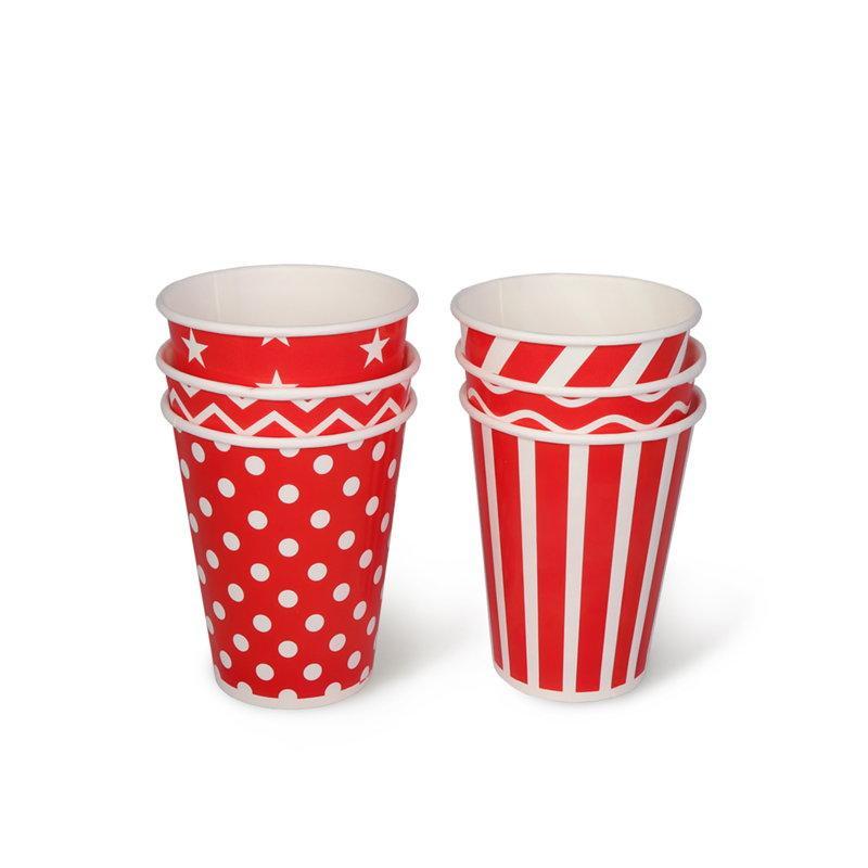 Бумажный стакан, 350 мл (макс. 400 мл), красный с принтом в ассорт.
