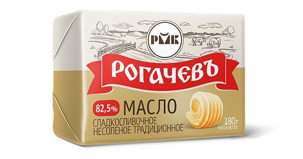 Масло Рогачевъ сладкосливочное несоленое традиционное
