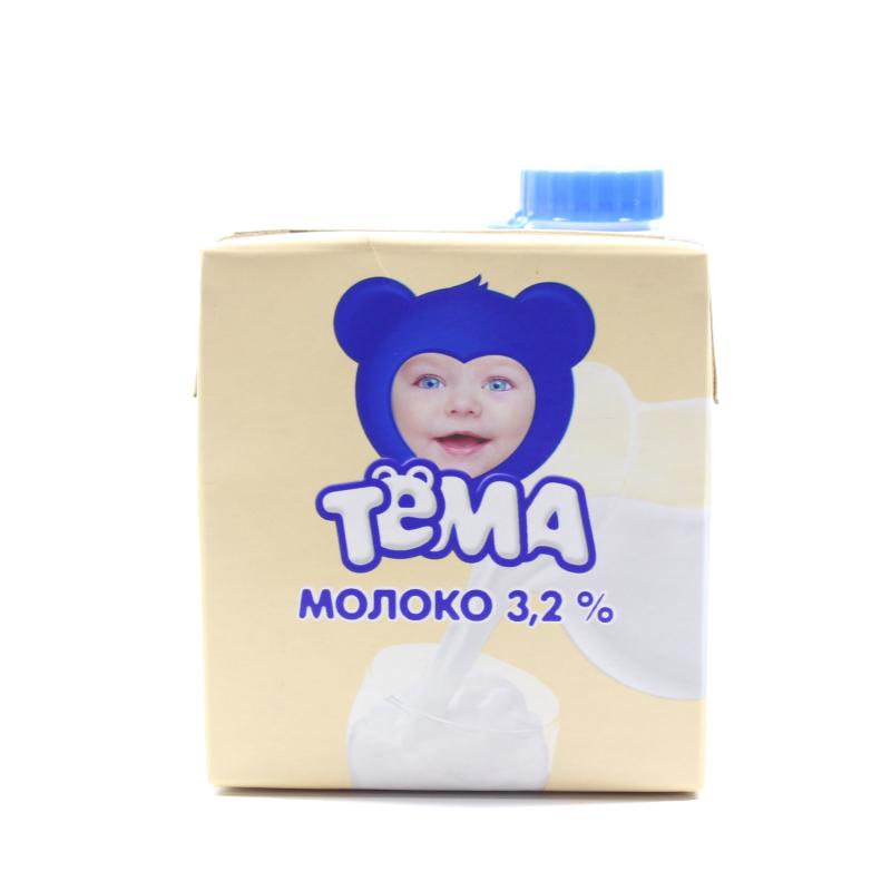 """Молоко ультрапастер. """"ТЕМА"""" 3,2% 500мл 12шт Combiblok"""