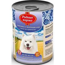 Корм Родные корма для собак говядина с потрошками в желе по-купечески консервированный