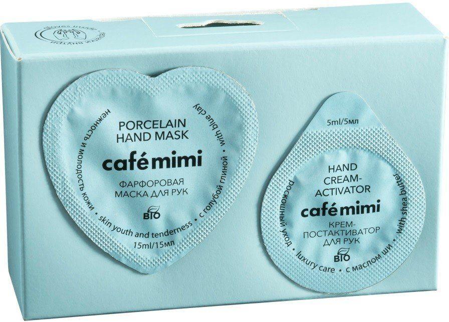 Маска для рук Cafe Mimi Фарфоровая нежность и молодость кожи +постактиватор