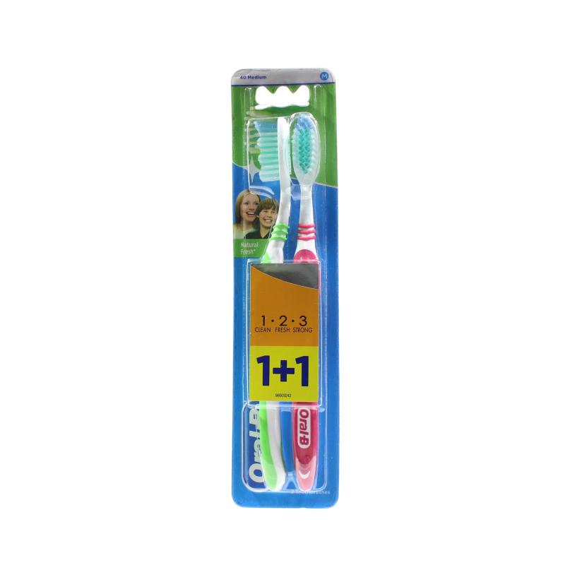 Зубная щетка средней жесткости Натуральная свежесть 123 Oral-B 2шт