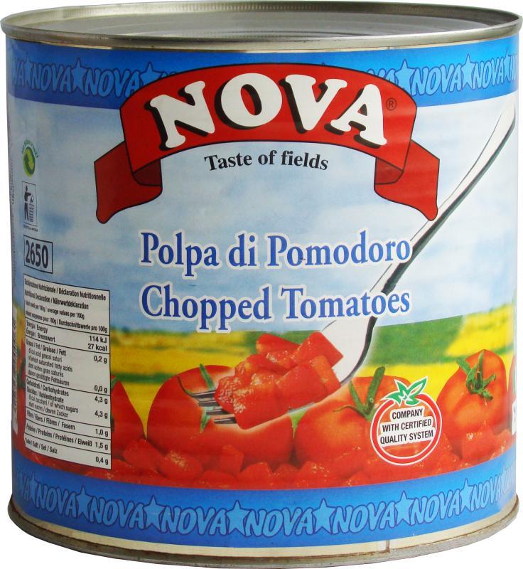 Томатная мякоть Nova резанная кубиками в собственном соку, Италия