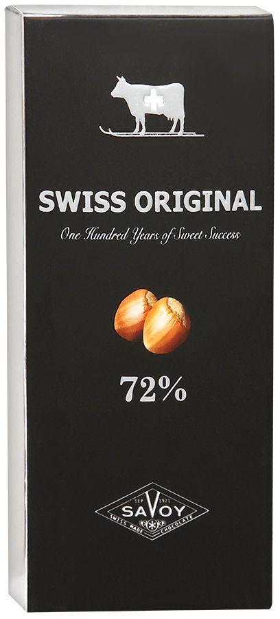 Шоколад Swiss Original горький с фундуком 72%  100 гр.