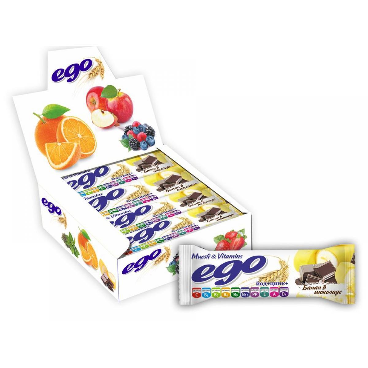 Батончик мюсли Ego бад банан с йодом в шоколаде.