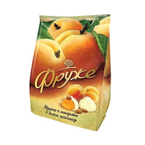 Конфеты Фруже абрикос с миндалем в белом шоколаде глазированные