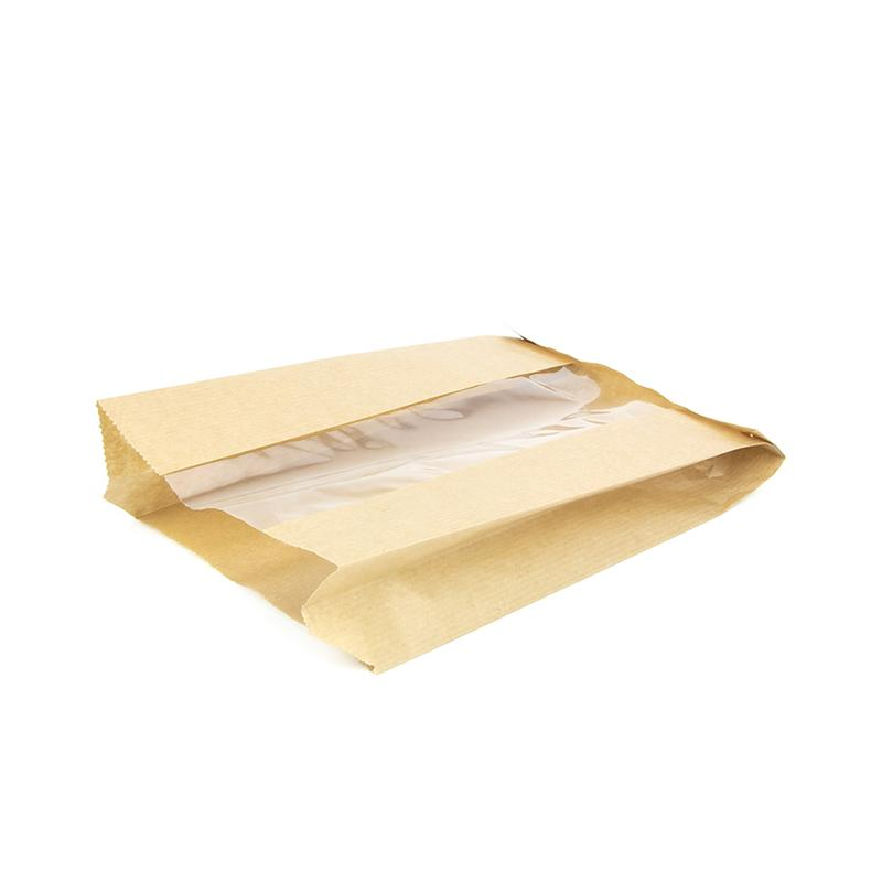 Пакет с пл. дн., 140(окно-50)*50*235 мм, крафт