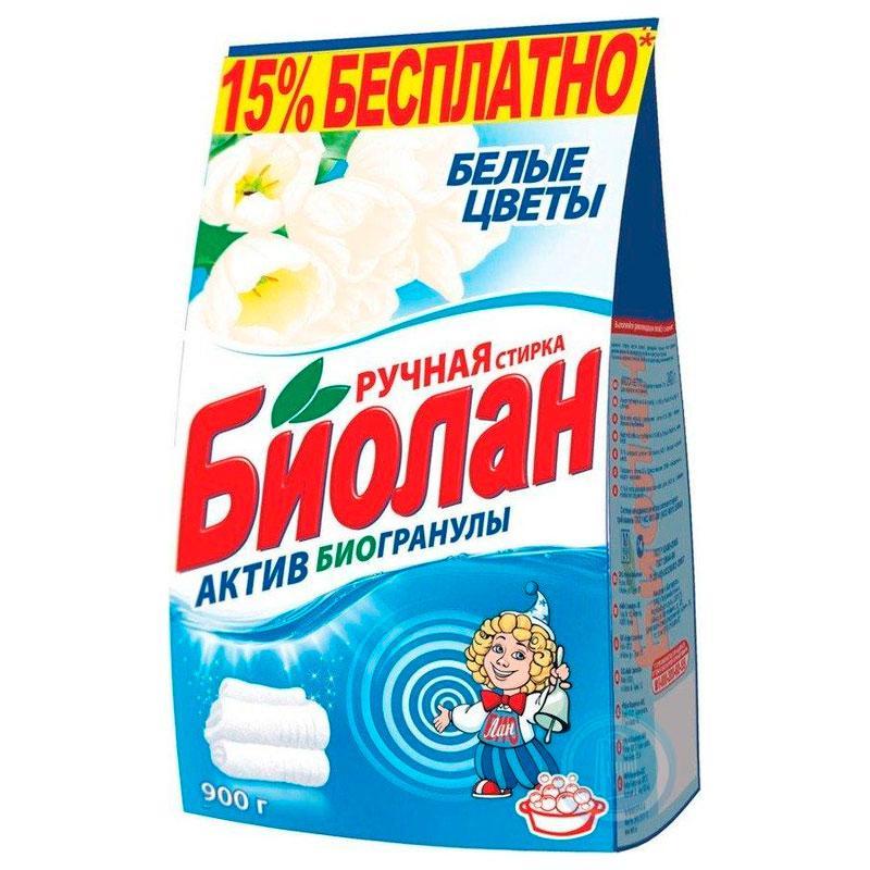 Порошок стиральный Биолан ручная стирка для белого белья Белые цветы