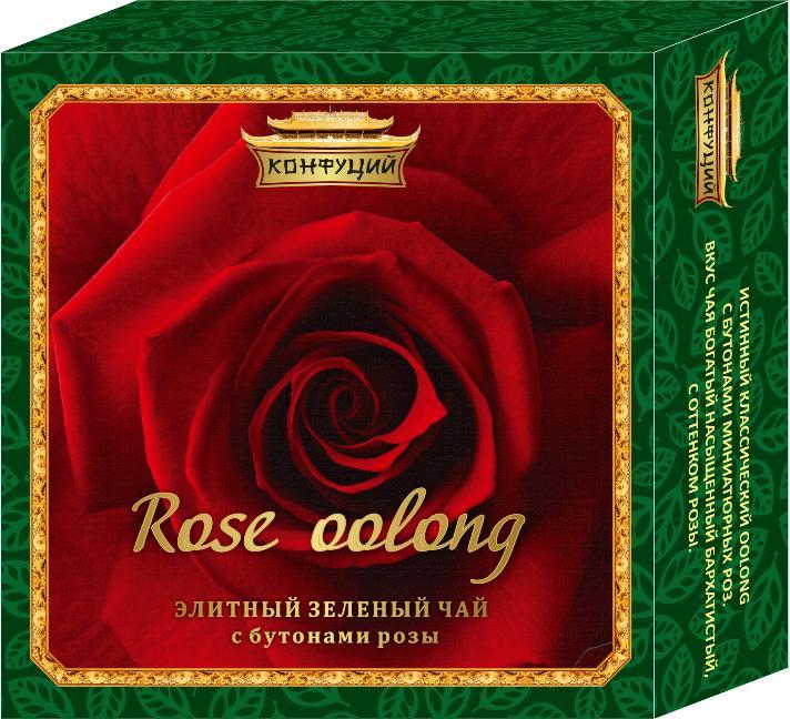 Чай зелёный листовой Конфуций Оолонг с розой 40 гр
