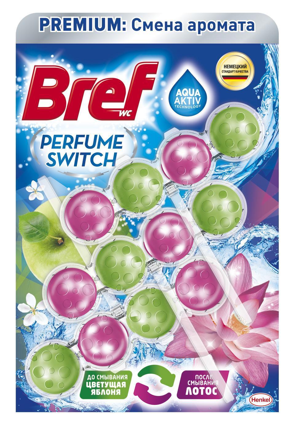 Туалетный блок Bref Смена аромата Цветущая яблоня-лотос 3 шт.