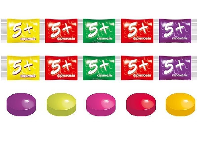 Конфеты Пять плюс Леденецовая карамель с витамином С