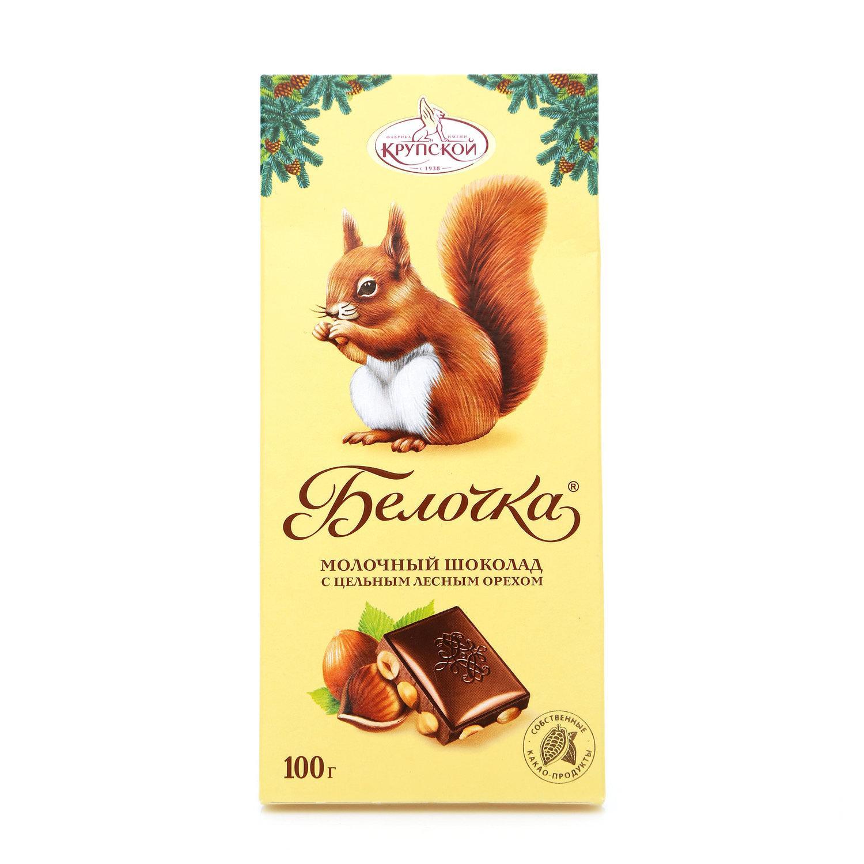 Шоколад Фабрика имени Крупской Белочка с фундуком