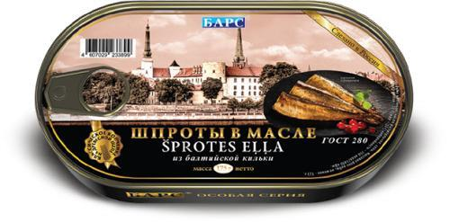 Рыбные консервы Барс шпроты в масле из балтийской