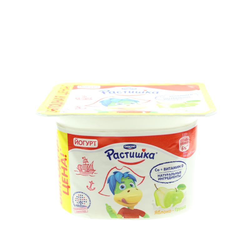 Йогурт густой Растишка 110г ф-12 ябл-груша