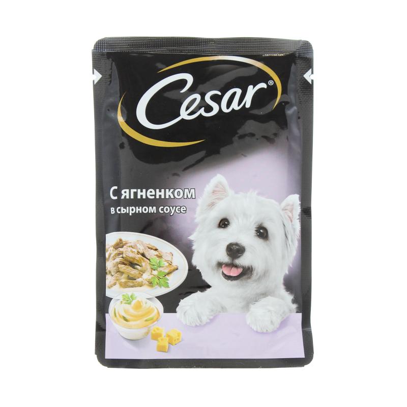 Корм влажный для собак ягненок в сырном соусе Cesar 100 гр. Дой-пак