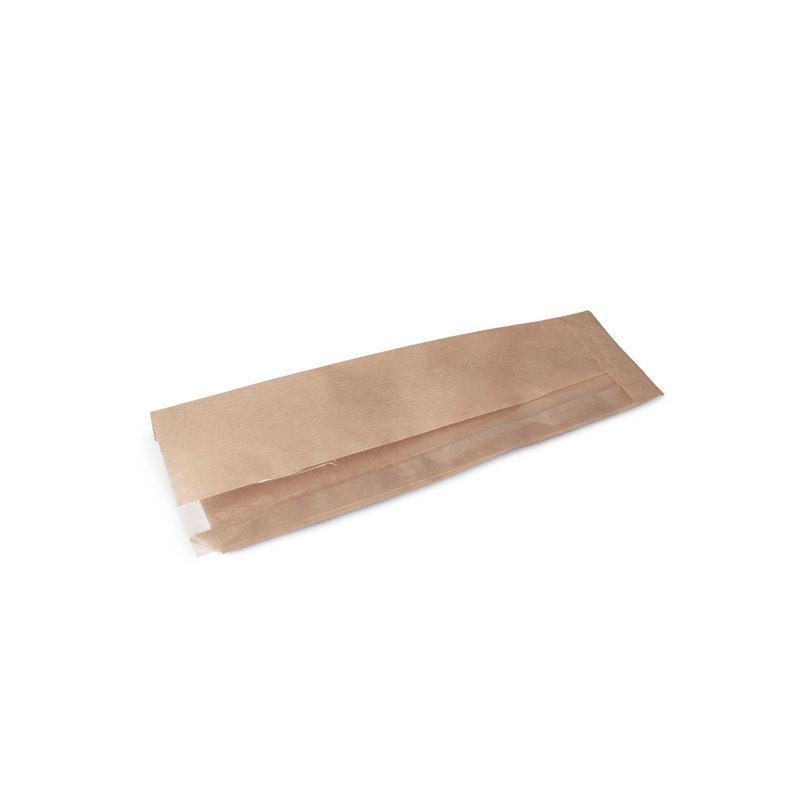 Крафт пакет с пл. дн. и окном, 90(смещ.окно-35)*330 мм