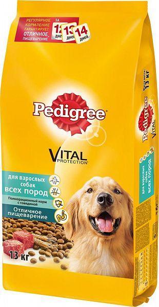 Корм Pedigree сухой для взрослых собак для всех пород Vital Protection с говядиной 13кг