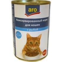Корм влажный для кошек с рыбой Aro 415 гр. Жестяная банка