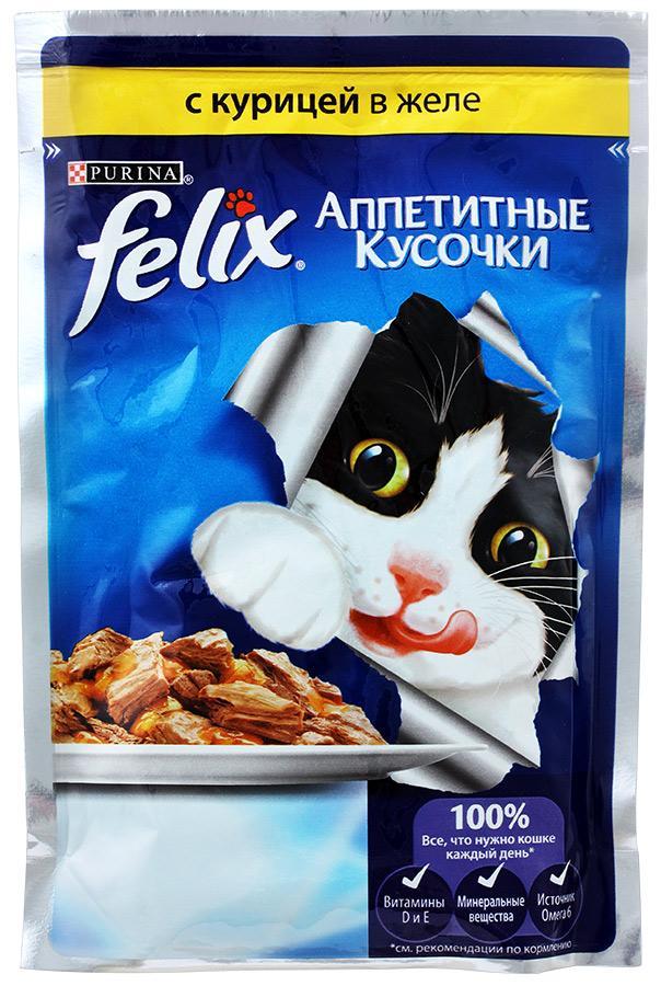 Корм Felix для кошек с курицей в желе 85г