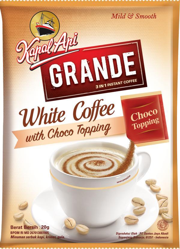 Кофе Kapal Api 3 в 1 Grande white coffe с шоколадной крошкой