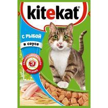 Корм влажный для кошек в соусе с рыбой Kitekat 85 гр. Пластиковая упаковка