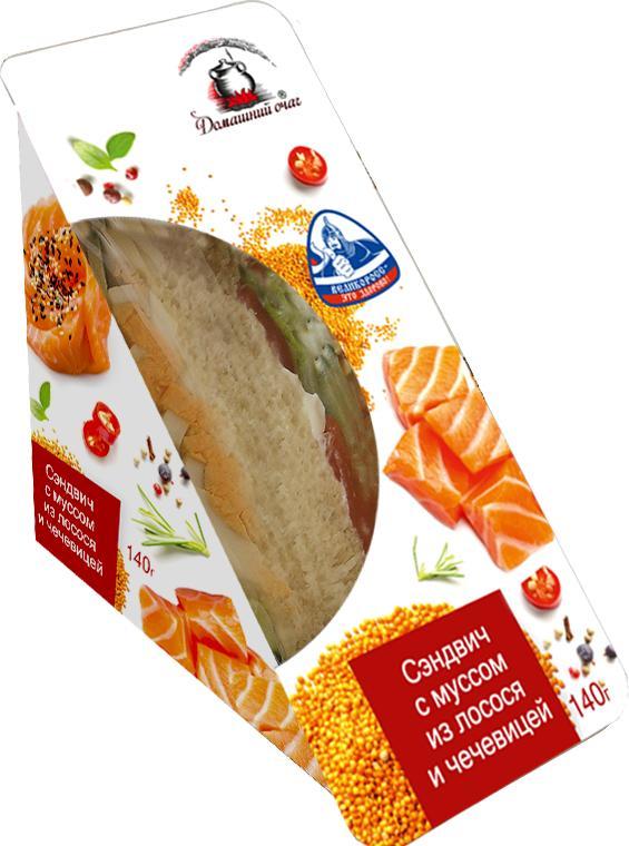 Сэндвич Домашний очаг С муссом из лосося и чечевицей