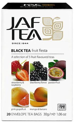 Чай JAF TEA Fruit Fiesta черный 20 пакетиков в конвертиках, Ассорти 5 видов
