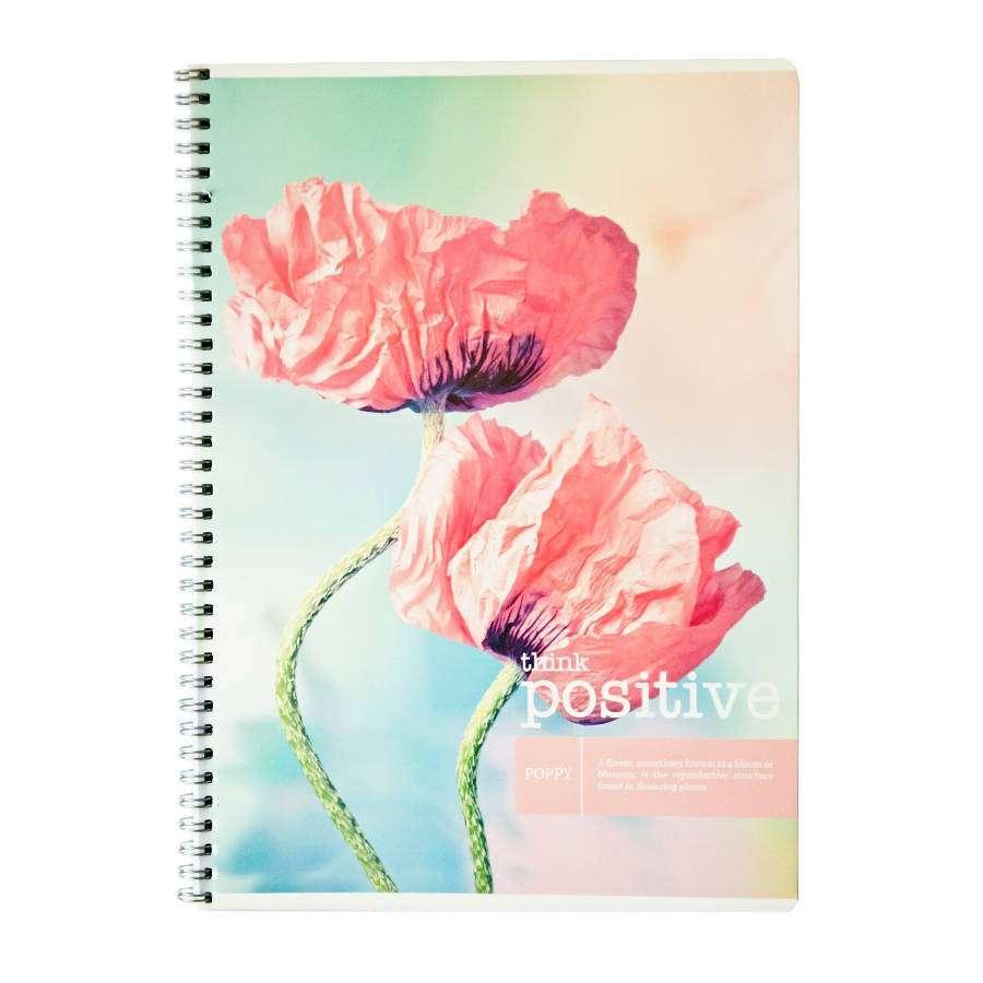 Тетрадь ArtSpace think positive цветы 80л. А4 клетка на гребне